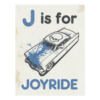 J is for Joyride Postcard