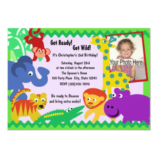 J is for Jungle 13 Cm X 18 Cm Invitation Card