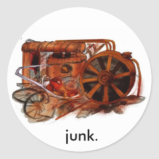 J is for Junkyard Classic Round Sticker