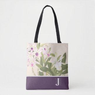 """""""J"""" Japanese Wood Block Print Orchid Tote Bag"""