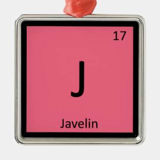 J - Javelin Track and Field Chemistry Symbol Christmas Ornament