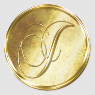J Monogram Faux Gold Envelope Seal Stickers