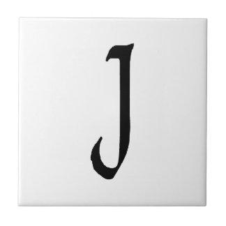 """J"" monogram, Quill text Tile"