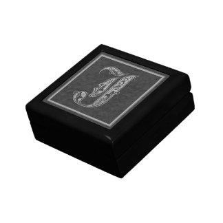 J Monogram Royal Grey Stone Decorative Box