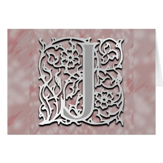 "J Monogram ""Silver Stone"" Note Card Greeting Card"