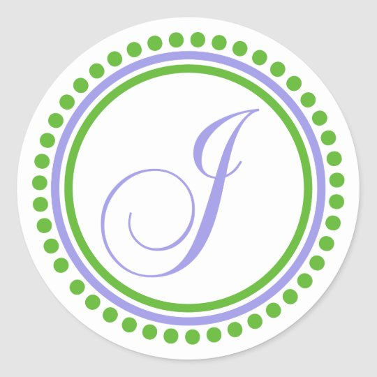 J Monogram (Violet Purple / Green Dot Circle) Classic Round Sticker