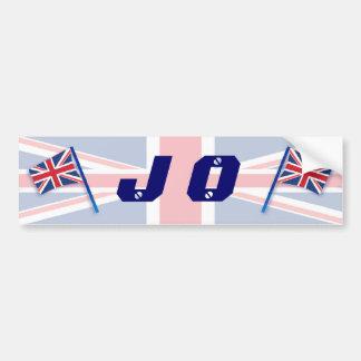 J O British Flqg Car Bumper Sticker