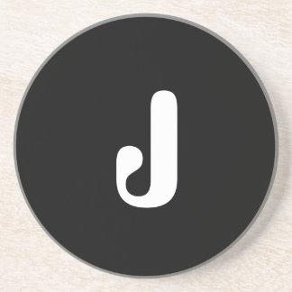 """J"", red & white check monogram on white Beverage Coasters"