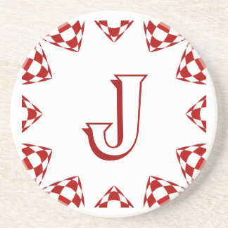 """J"", red & white check monogram on white Coaster"