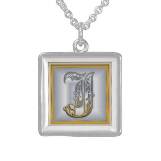 J Royal Initial Monogram Necklace Pendant