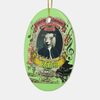 J.S. Baach Sheep Animal Composer Back Spoof Christmas Ornament
