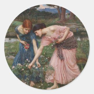 J.W. Waterhouse Gather Ye Rosebuds Round Sticker
