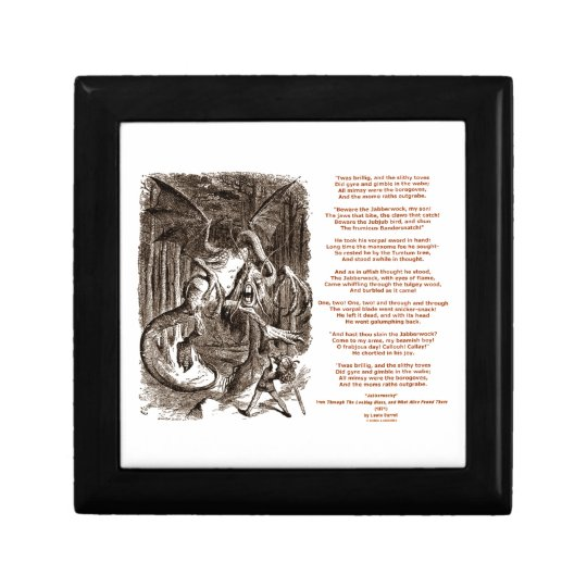 Jabberwocky Poem by Lewis Carroll Small Square Gift