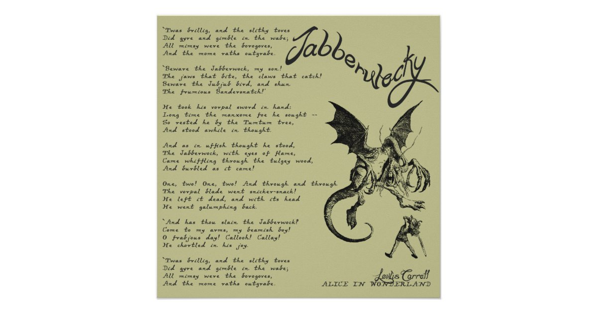Jabberwocky Poem Poster | Zazzle.co.uk