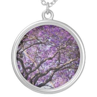 Jacaranda tree in spring bloom flowers round pendant necklace