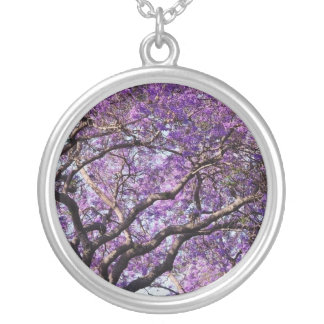 Jacaranda tree in spring bloom flowers silver plated necklace