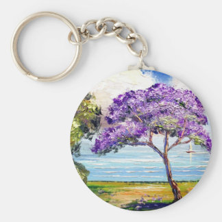Jacaranda Tree Tropical Art Key Ring