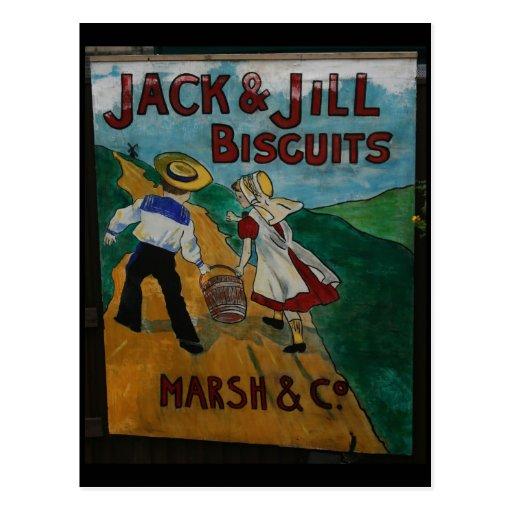Jack and Jill Biscuits vintage advertising poster Postcard