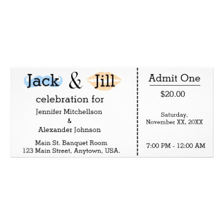 Jack and Jill Moustache & Lipstick Shower Ticket Personalised Rack Card