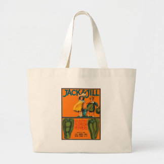 Jack and Jill Peppers Vintage Crate Label Large Tote Bag