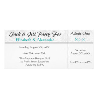 Jack and Jill Shower Ticket Style Party 10 Cm X 23 Cm Rack Card