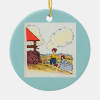Jack and Jill went up the hill Double-Sided Ceramic Round Christmas Ornament