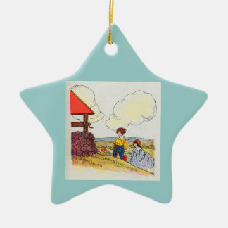 Jack and Jill went up the hill Double-Sided Star Ceramic Christmas Ornament