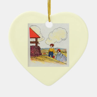 Jack and Jill went up the hill Double-Sided Heart Ceramic Christmas Ornament