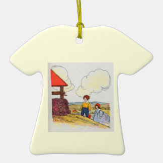 Jack and Jill went up the hill Double-Sided T-Shirt Ceramic Christmas Ornament