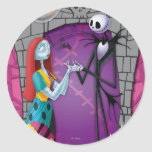Jack and Sally Holding Hands Round Stickers