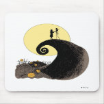 Jack and Sally holding hands under the moonlight Mouse Pads