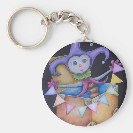 Jack in the box basic round button key ring