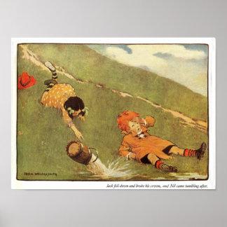 Jack & Jill Fell Down The Hill Nursery Rhyme Poster