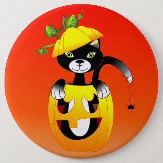 Jack O Lantern And Black Cat 6 Cm Round Badge