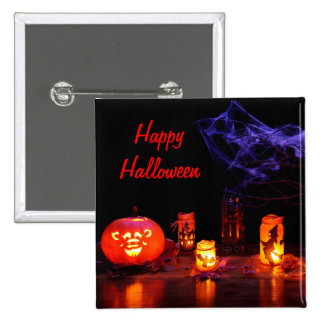 Jack-O-Lantern And Candles Button