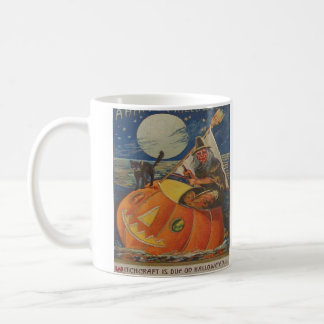Jack O Lantern Black Cat Witch Full Moon Classic White Coffee Mug