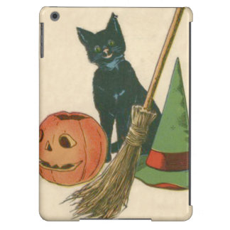 Jack O' Lantern Black Cat Witch's Hat Broom Cover For iPad Air