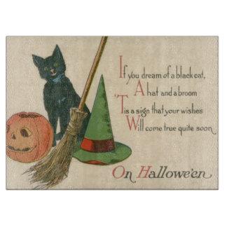 Jack O' Lantern Black Cat Witch's Hat Broom Cutting Board