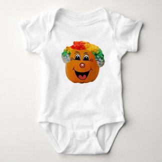 Jack o' Lantern Clown Face, Halloween Pumpkin Baby Bodysuit