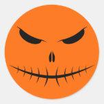 Jack-O'-Lantern Face III, Black Round Sticker