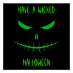 Jack-O'-Lantern Face III, Green Posters