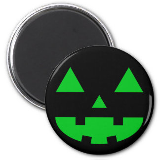 Jack-O'-Lantern Face IV, Green 6 Cm Round Magnet
