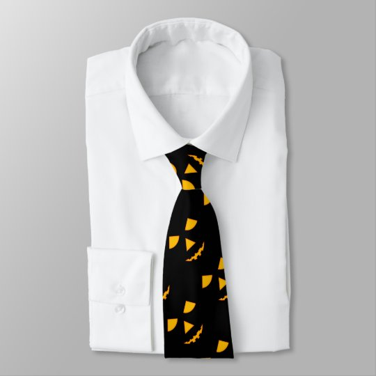 Jack-o-Lantern Faces Halloween Necktie