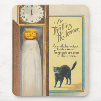 Jack O Lantern Ghost Black Cat Grandfather Clock Mouse Pad