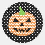 Jack-O-Lantern Halloween Card Round Sticker