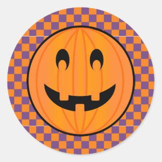 Jack o Lantern, Halloween Checker Design Stickers