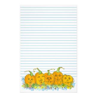 Jack-O-Lantern Halloween Lined Stationery Paper