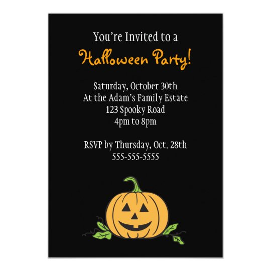 Jack 'O Lantern Halloween Party Card