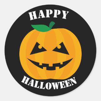 Jack-O-Lantern Happy Halloween on Black Classic Round Sticker