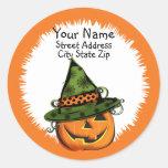 Jack-O-Lantern in Witch Hat Address Label Round Sticker
